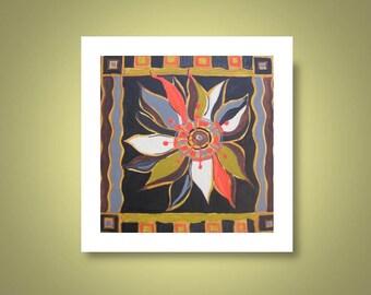 """Fine art PRINT brown black orange FLOWER- 10""""x10"""""""