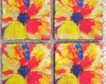 TILE COASTERS POPPY flower orange yellow red-Handmade with original artwork