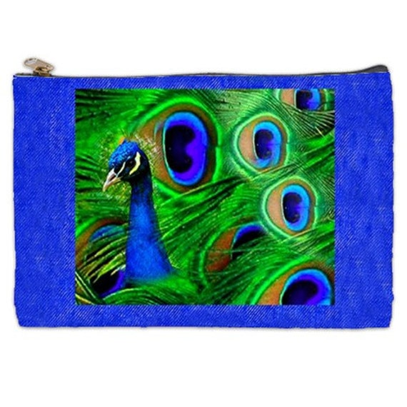 Proud As A Peacock Cosmetic Bag, blue make up bag, peacock feathers, cosmetic make up pouch, tote bag, Peacock Blue, zippered pouch, bags