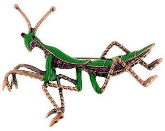 Enamel Green Amethyst Praying Mantis Pin Brooch 1001922