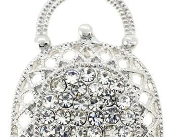 Silver Lady Handbag Pin Brooch 1000891
