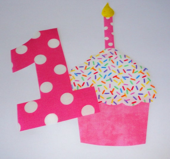 Pink 1st Birthday Polka Dot Candle: Items Similar To Iron On Fabric Applique PINK Polka Dot