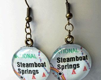 Steamboat Springs Earrings, Steamboat Springs Colorado , Colorado Map, Map Earrings , Map Jewelry, Earrings,  Colorado Map Jewelry