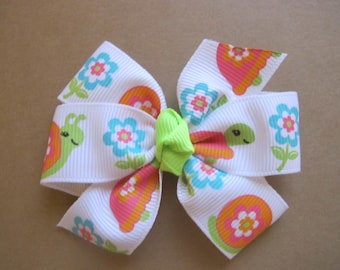 Flowers and Turtles and Snails Pinwheel Bow--Girls pinwheel bow