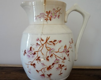 Antique Shabby Water Pitcher Vase