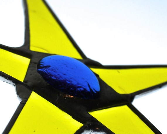 Star of Provence -8 inch stained glass star - yellow and azure blue