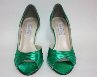 Dyeable Wedding Shoe - Custom Color Wedding Shoe - Choose Over 100 Colors - Satin - Green Wedding Shoe - Choose Heel Size - Dyed By Parisxox