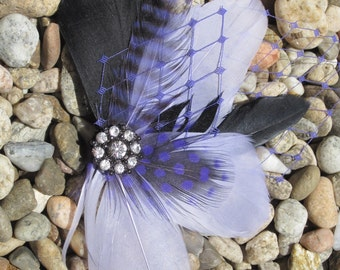 Lavender and Black Feather Fascinator