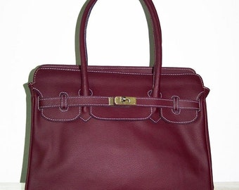 ILITA.  Aubergine Leather Handbag, Leather cross-body bag, Leather shoulder bag, Leather purse