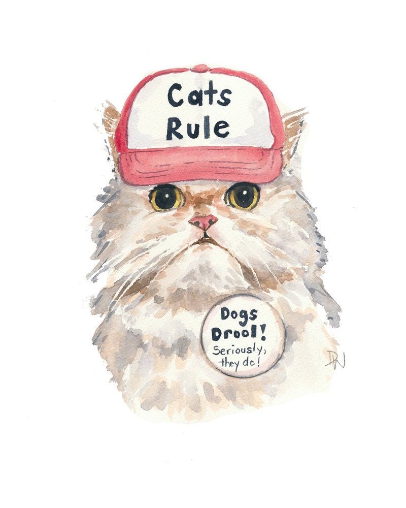 Original Cat Watercolour Painting Cats Rule Trucker Hat