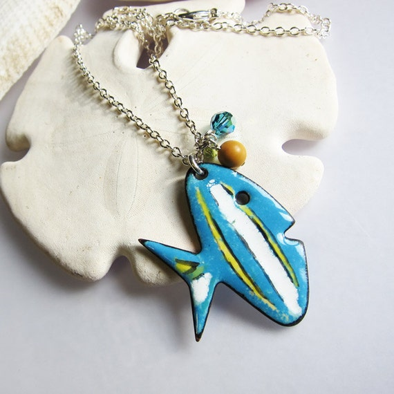 Beach Jewelry, whimsical fish necklace, blue yellow enamel necklace aquatic nature jewelry