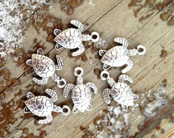 SALE - 9 Silver Plated Sea Turtle Charms or Pendants