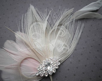 Ivory, Pink, Weddings, hair, Accessories, Feather, Fascinator, bride, clips, Peacock, Bridal, accessory, valentines, spring-PRINCESS ME PINK