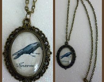 Edgar Allan Poe The Raven Inspired Bronze Cameo Necklace