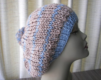 Hand Knit Slouchy Pom Pom Beanie Hat  BLUE / Tan / Taupe - Oversized Knitted Slouch Hat - Hand Knit Hat