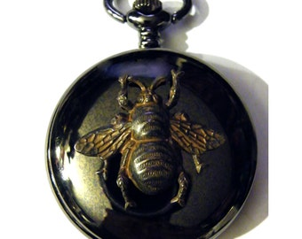 Steampunk Black Bee Pocket Watch Necklace or Chain Fob