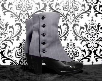 Victorian ladies' pinstripe spats