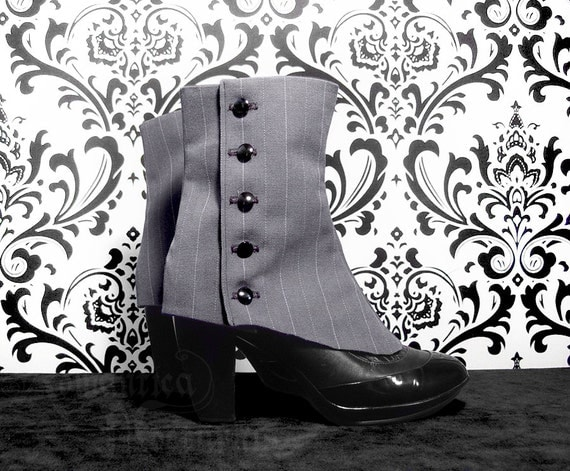 Steampunk Boots and Shoes for Men Victorian ladies pinstripe spats $69.26 AT vintagedancer.com