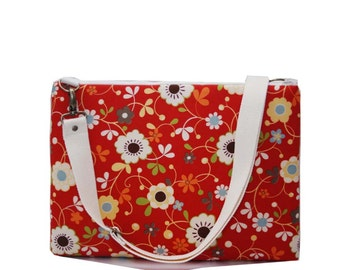 "13"" Macbook or Laptop bag with  detachable shoulder strap-Floral -Ready to ship"