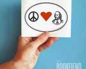 Peace Love Shakespeare bumper sticker
