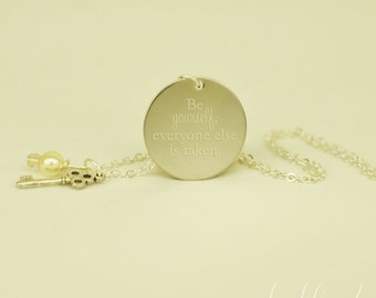 "be yourself OSCAR WILDE  --- engraved 1"" charm necklace"