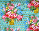 Kaffe Fassett Flower Basket aqua GP 48 Rowan Fabrics 3/4 yard WASHED