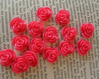 Hot Pink Resin Flower Cabochon 14mm