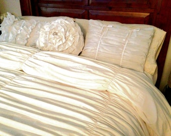 White Gathered King Duvet Cover and Ruffle Pillow Set, Shabby Chic Bedding Vintage Style