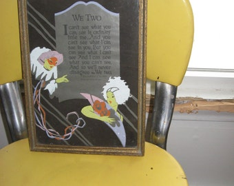 Poem Framed in Vintage Frame / We Two From the Writings of Gus Kahn C 1926 / Jester and Flapper / OOAK / Love Poem / Valentines Day Gift