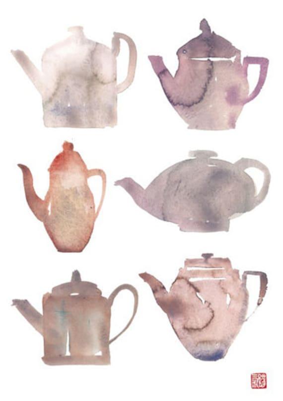 Items similar to Kitchen art, Chinese teapots, Tea poster ...