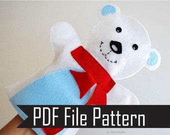 Baby Polar Bear Hand Puppet PDF Sewing Pattern  A512