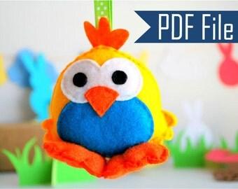 Chick Pattern , Felt Toy Pattern, Chicken Sewing Pattern, Big Eyes Chick, Plush Ornament,  Pdf Sewing Pattern, A569