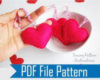 Heart Ornaments Sewing pattern , Valentine's day PDF Kids craft Project  Instant download A496
