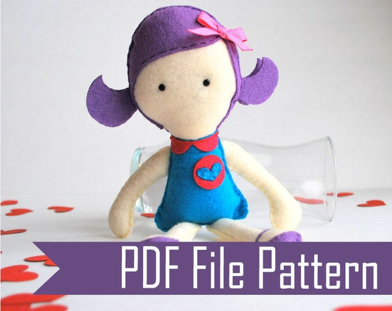 Rag Doll Sewing pattern - Violet  Felt Plush doll Pattern  PDF ePATTERN  Instant Download  A491