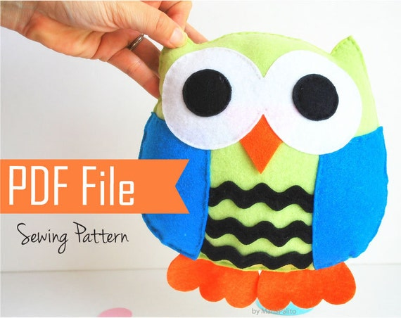 Owl Pattern, Large Owl Sewing Pattern, Felt Pillow Pattern, Pdf ...