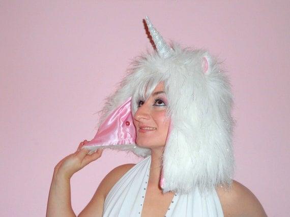 Magical Unicorn Hood // Sparkle faux fur hat // Playa wear // fake fur unicorn hat