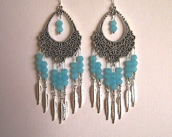 Silver Feather and Light Blue Crystal Filigree Chandelier Earrings Long Blue Chandelier Earrings