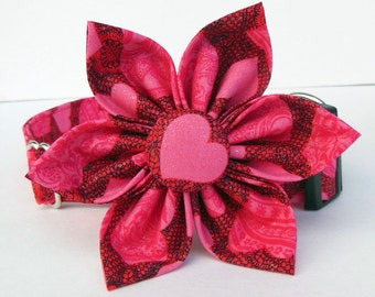 Dog Collar Flower Set- Heart- Made to order in your choice of size.