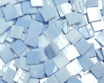 Light Blue Wispy Stained Glass Mosaic Tiles