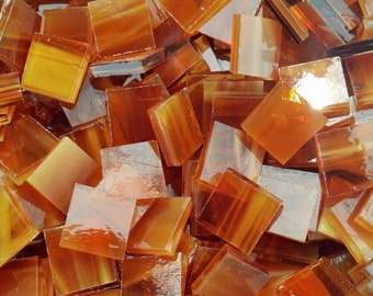 Light Amber Wispy Stained Glass Mosaic Tiles