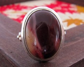 A Mookaite Jasper Simple Sterling Silver Ring