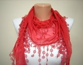 Gift - New Scarf - Trend Scarf - Mother's Day Gift - Red Pashmina Scarf with Trim Edge