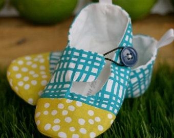 Baby Boy Shoes - Aqua and Citron Green - Modern Baby