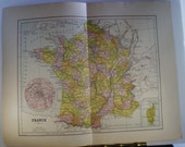 France - 1895 Map - lovely pastel colors