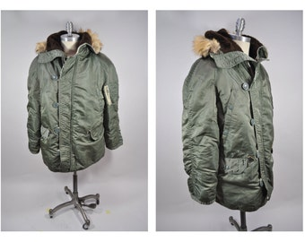 vintage military style PARKA N3B coat jacket 1970s medium