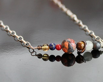 Solar System Necklace (including Pluto): gemstones and rough diamond