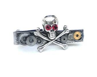 Skull and Bones Steampunk Tie Bar