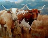 Texas Longhorns art on canvas - At the ranch.