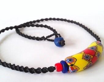 Rare African Trade Bead Boho Tribal macrame necklace