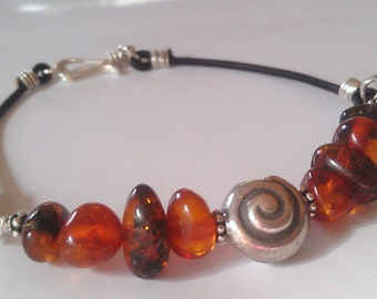 Natural Baltic Amber Silver Swirl Shell Leather Bracelet